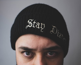 Stay Distant ribbed beanie