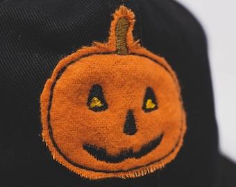 Cloth Jack-O-Lantern // hand cut cap