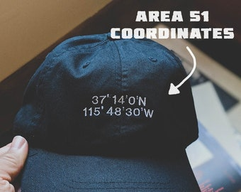 Area 51 coordinates cap (Dad hat style) (+ free shop sticker)