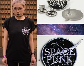 Space Punk BUNDLE - (the shirt + the pin + the patch) + free shop sticker