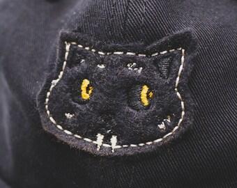 Black Cat // hand cut cap