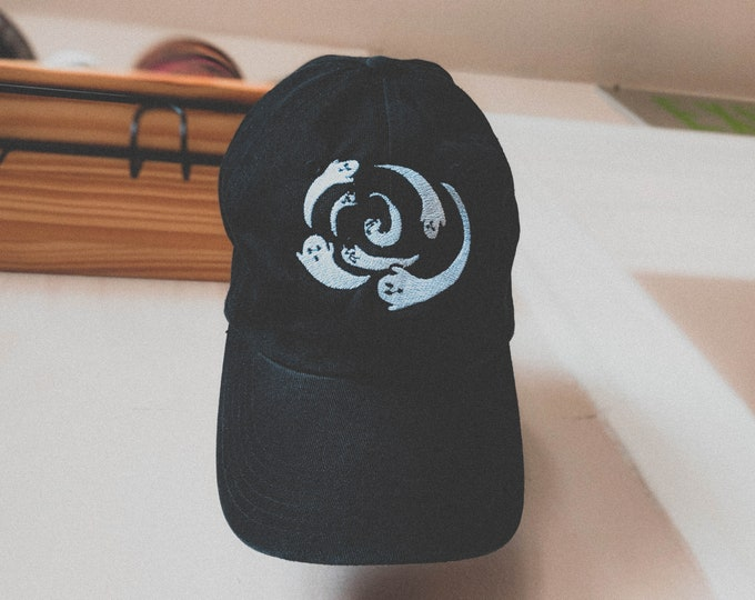 Featured listing image: Spiral ghost hat (+ free patch + shop sticker)