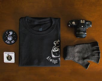 Always Tired x Black Coffee Club BUNDLE - (the shirt + the pin + the patch) + free shop sticker
