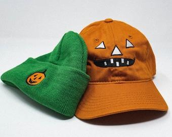 Kids Pumpkin hat and Beanie retro bundle