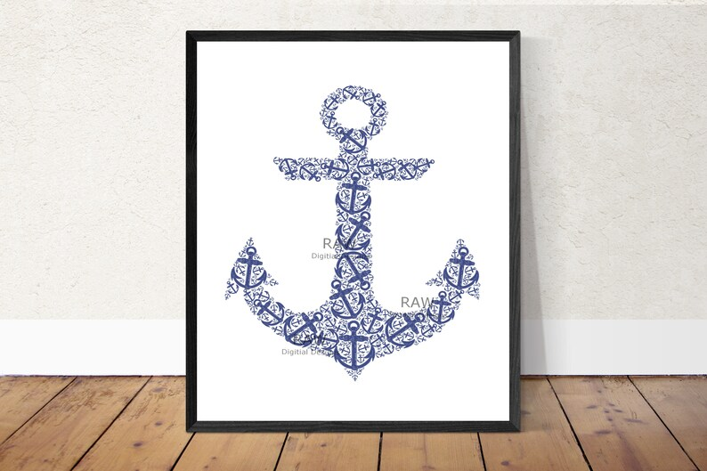 graphic about Anchor Printable named Nautical Wall Artwork Anchor Printable Artwork- Blue Anchor Printable/Nautical Printable/ Nautical Concept Nursery Artwork/ Nautical Topic Printable/