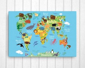 animal world map canvas nursery canvas art playroom art etsy