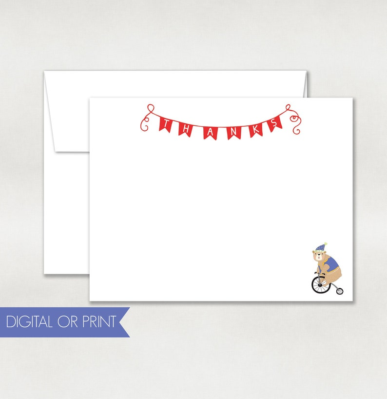 graphic about Printable Note Card identify Circus Thank By yourself, Circus Be aware Card, Released Flat Notice Card, Printable Notice Card, Undergo Thank On your own, Back again Design and style Integrated