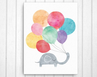 Nursery Canvas Art, Playroom Art, Elephant with Balloons Canvas Wall Decor, Nursery Decor, Nursery Art, Child Room Art