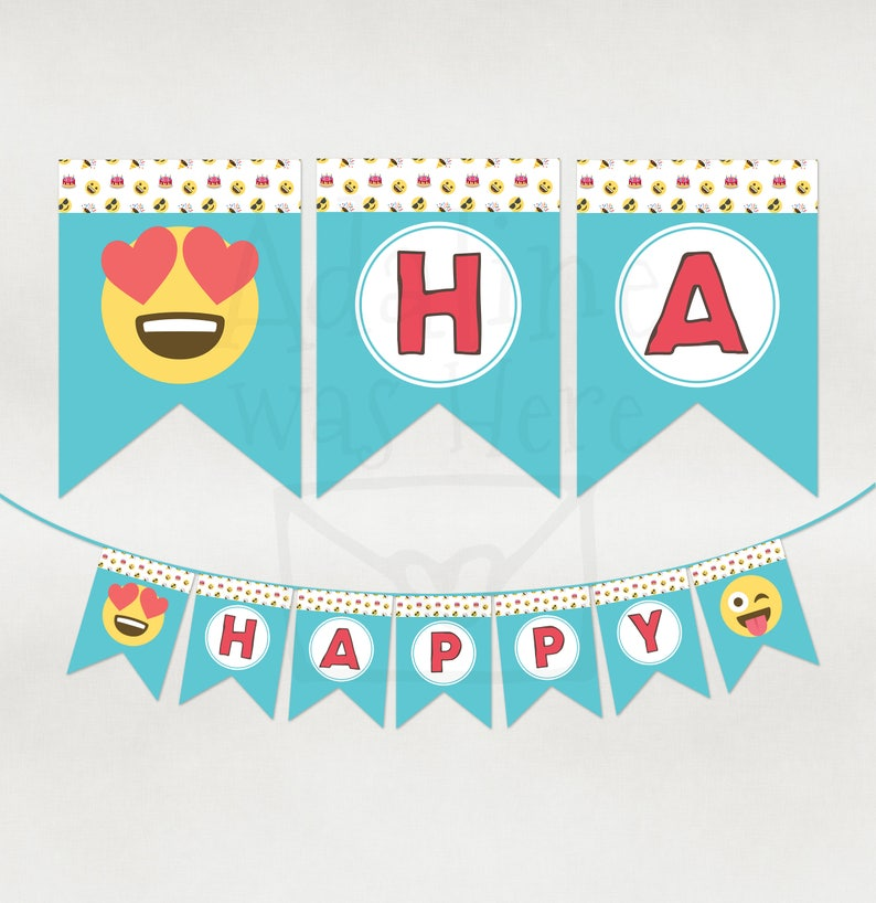 Emoji Banner Happy Birthday Pennant