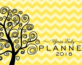 Small horizontal, 8x5 day planner, 2018, dated, weekly, monthly spread, yellow chevron, pocket, purse, spiral-bound, opens to 16x5 inches