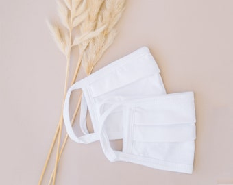 White 100% Cotton Mask  (5 Pack)
