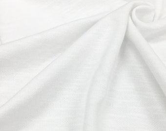 Cotton Blend Double Face Jersey Knit Fabric With Slub (Wholesale Price Available By The Bolt) - 1046CSL1 White - 1 Yard