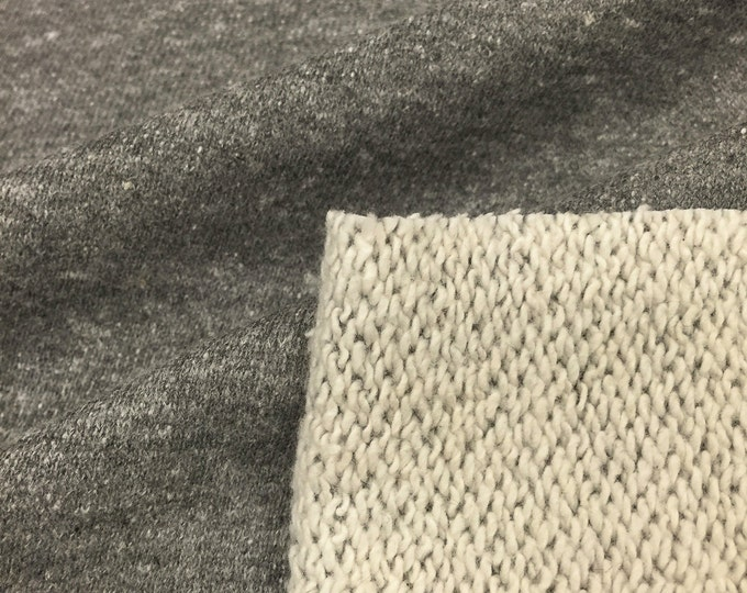 Poly Cotton Rayon TriBlend French Terry Fabric (Wholesale Price Available By the Bolt) USA Made Premium Quality 6076PCRH3 Charcoal - 1 Yard