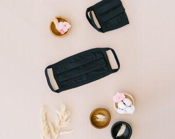 Black 100% Cotton Face Mask  (100 Pack)