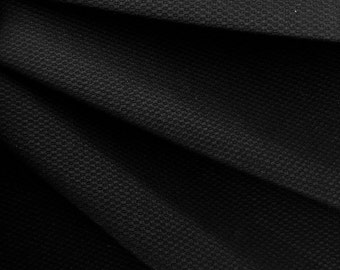 Honeycomb Cotton Pique Woven Fabric 10051 Black 1 Yard