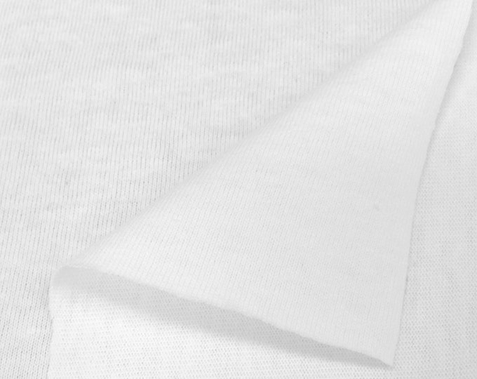 USA Made Premium Quality Poly Cotton Jersey Knit Fabric  (Wholesale Price Available by the bolt) - 5570 White - 1 Yard