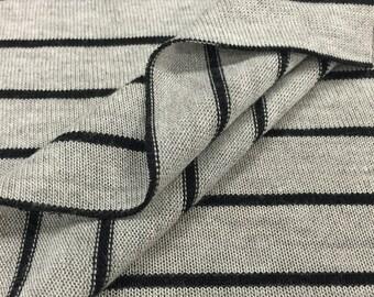 Heather Grey/Black Striped Sweater-Knit