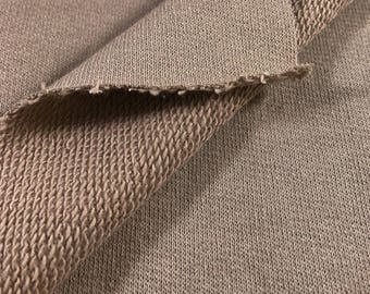 100% Cotton French Terry Knit Fabric (Wholesale Price Available By the Bolt) USA Made Premium Quality - 6012 TAUPE- 1 Yard