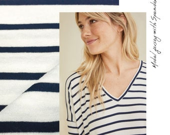 Navy/Natural Stripe Modal Jersey with Spandex