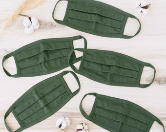 Olive 100% Cotton Face Mask  (600 Pack)