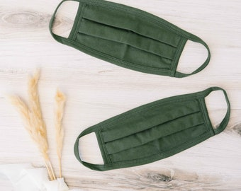 Olive 100% Cotton Face Mask  (100 Pack)