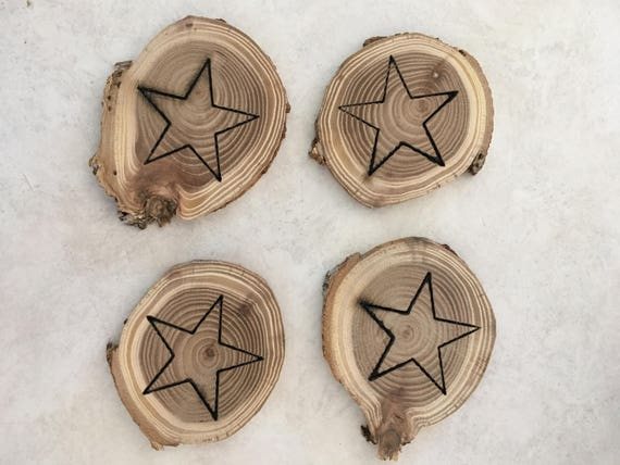 2-4 inch x 14 inch thick  Siberian Elm Wood Slice with Laser Engraved Star