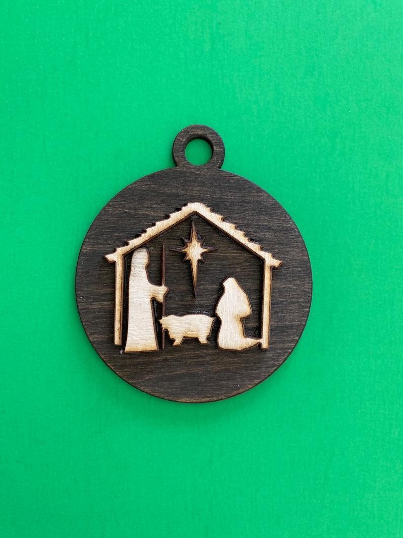 3 12 inches  Birch Wood Minimalist Nativity 3D Ornament - finished