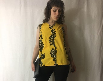 885b64903d 1970s/1980s Hawaiian Shirt | Sleeveless Tunic Tank Top Button Up Blouse,  Tropical Leaf Print Top | Hoku