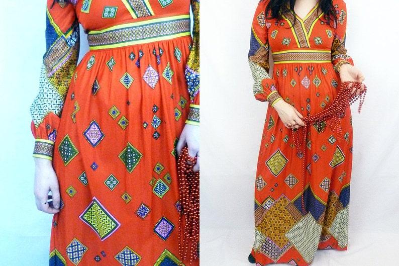 fbfd1fa9546 70s Maxi Dress Red Diamond Patchwork Print Empire Waist with