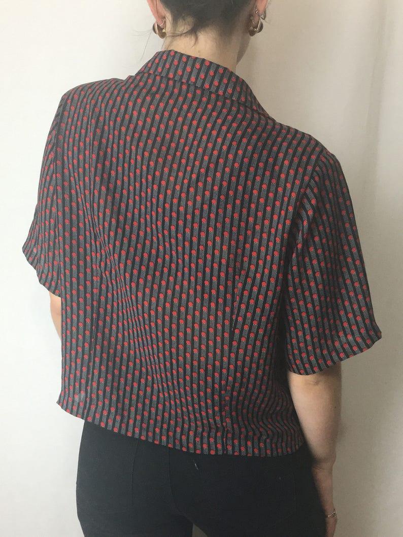 Striped Polka Dot Pattered Silky Short Sleeve Blazer Gold Button Front Deep V Neck Oversize Top with Shoulder Pads 1980s Blazer Blouse