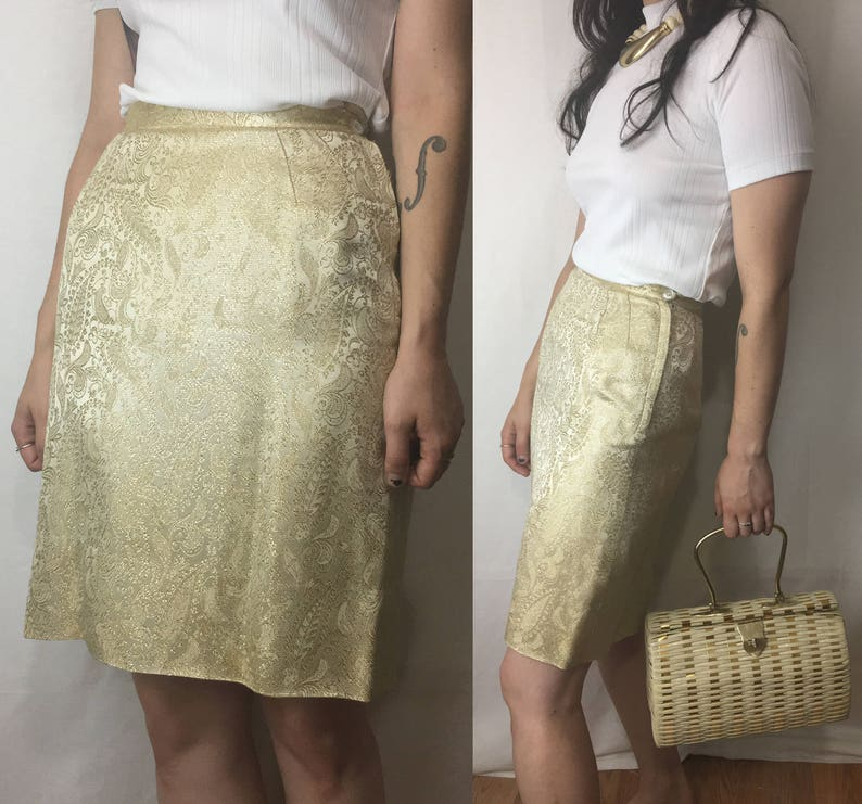 0848087ec0 1960s Brocade Skirt Metallic Gold and Cream Paisley Brocade | Etsy