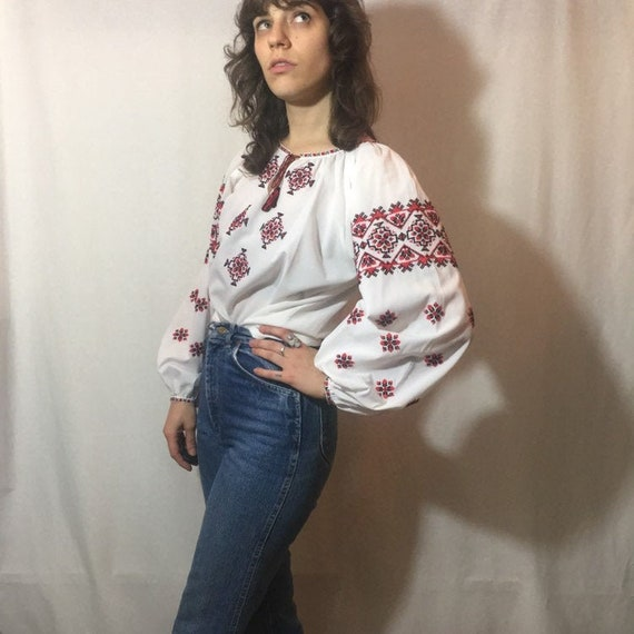 Vintage 1960s/1970s Embroidered Blouse | Red + Bla