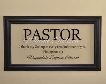 Pastor Gift Appreciation Wall Decor Retirement Minister Personalized Religious Art Christian