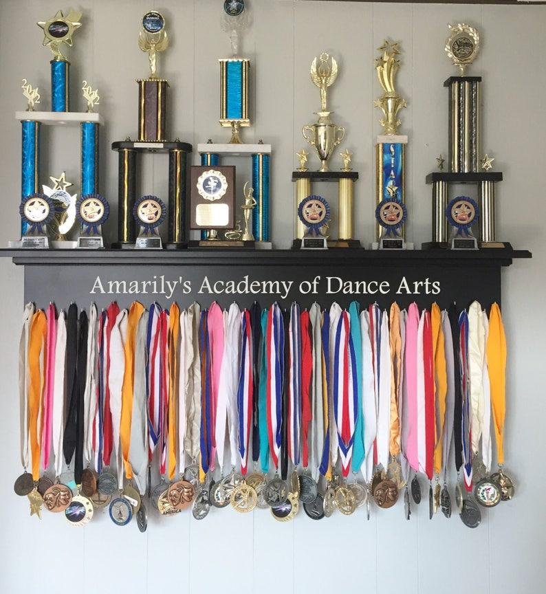 Trophy Shelf Ribbon Holder Medal Display Dance Award Display Sports Shelf  Trophy Rack Sports Award Display Dance Academy 48