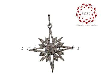 Handmade Pave Diamond 925 Silver 40 MM Sunburst Shape Pendant PD-0077