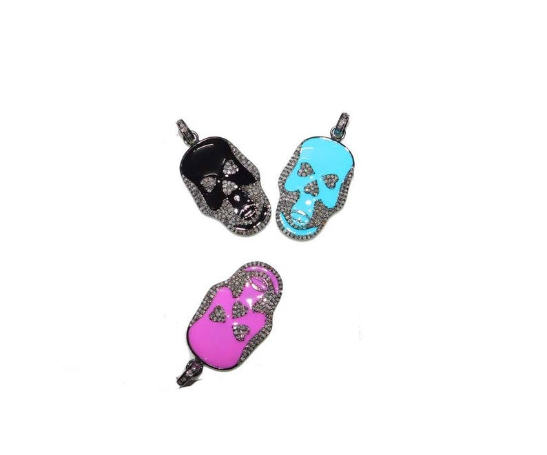 1 Piece Pave diamond  Skull Pendant 925 Sterling Single Bail Skull Charm Pendant Size-40x20