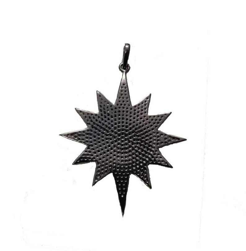 Handmade 925 Sterling Silver Ruby Diamond Sunburst Pendant