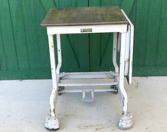 Antique Typewriter Table, Industrial Table, Horse Hoof Table, Wood Top, Drop leaf,Tiffany Stand