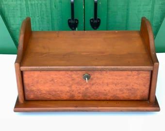 Vintage Lap Desk, Wall Box, Pine Wood Box With Key, Desk Accessory,Storage  Box