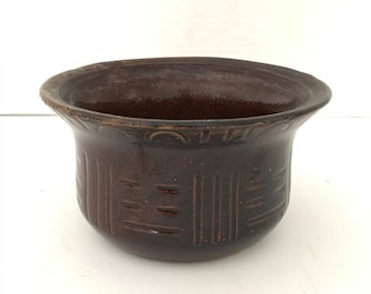 Vintage Red Ware Bowl, Marked  Robinson RRP Ransbottom USA Roseville Ohio,Dark Brown,Mixing Bowl, Plant Pot, Stoneware