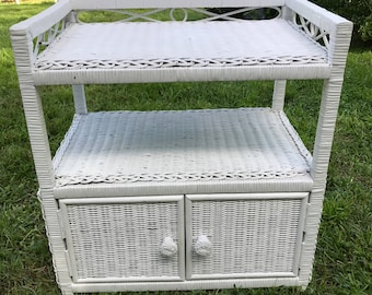 White Wicker End Table, Natural Wicker, Two Door Stand, MCM