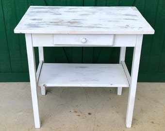 Antique Pine Table, Kitchen Table, Marshall C. Wood, Truxton, N.Y. , Circa  1925. Original Paint,Small Desk