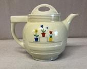 Antique Drip O Later, Coffee Pot ,Ceramic Pitcher, Art Deco Period, Enterprise Aluminum Co ,Flower Pots Pattern