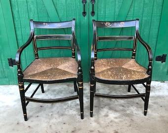 Pair Antique Hitchcock Chairs, Colonial, Classic Side Chair,IMPORTANT Early  American Decor,Hitchcock Arm Chairs