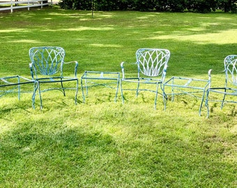 Vintage iron patio furniture Lawn Vintage Russel Woodard Patio Furniture Woodard Label Chairs Tablesmatching Woodard Labelwrought Iron Rich Blue Patina Little Claireification Wrought Iron Patio Furniture Etsy