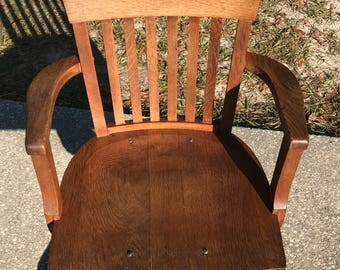 oak office chair etsy rh etsy com Dining Chairs with Arms Heavy Oak Arm Chair