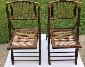 Superbe Vintage Bamboo Folding Chairs, Set Of Two (2)