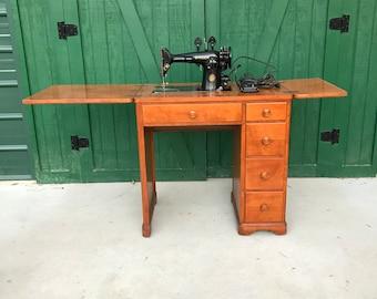 Singer sewing machine cabinet etsy antique singer sewing machine electric mcm cabinet circa 1940 watchthetrailerfo