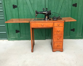 Antique Singer Sewing Machine, Electric, MCM Cabinet, Circa 1940.
