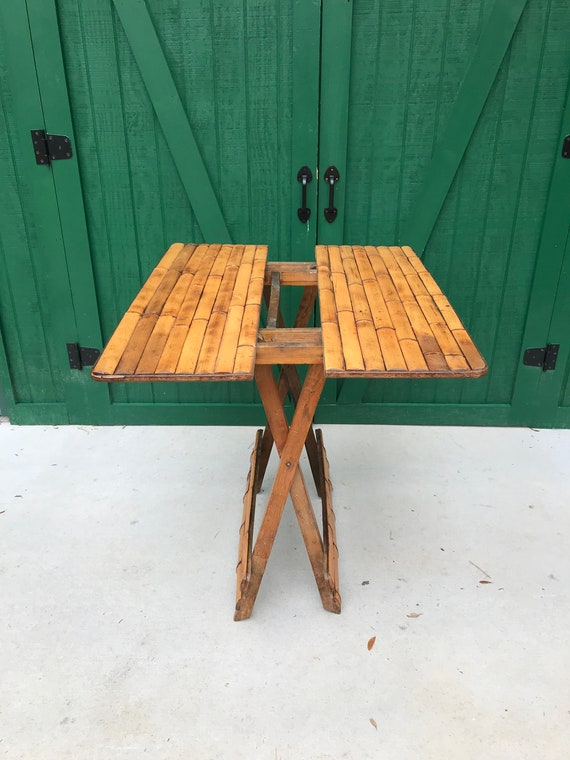 Superbe Vintage Bamboo Folding Picnic Table, Circa 1950,Teak Base, Folding Table,  Patio Furniture,Portable Table,Light Weight